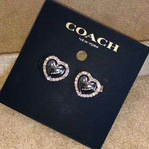 Coach Heart Shaped Paved Stud Earrings Rose Gold
